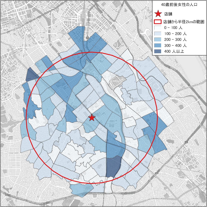 店舗から北西方向と南東方向に多く生活している地域が分布している