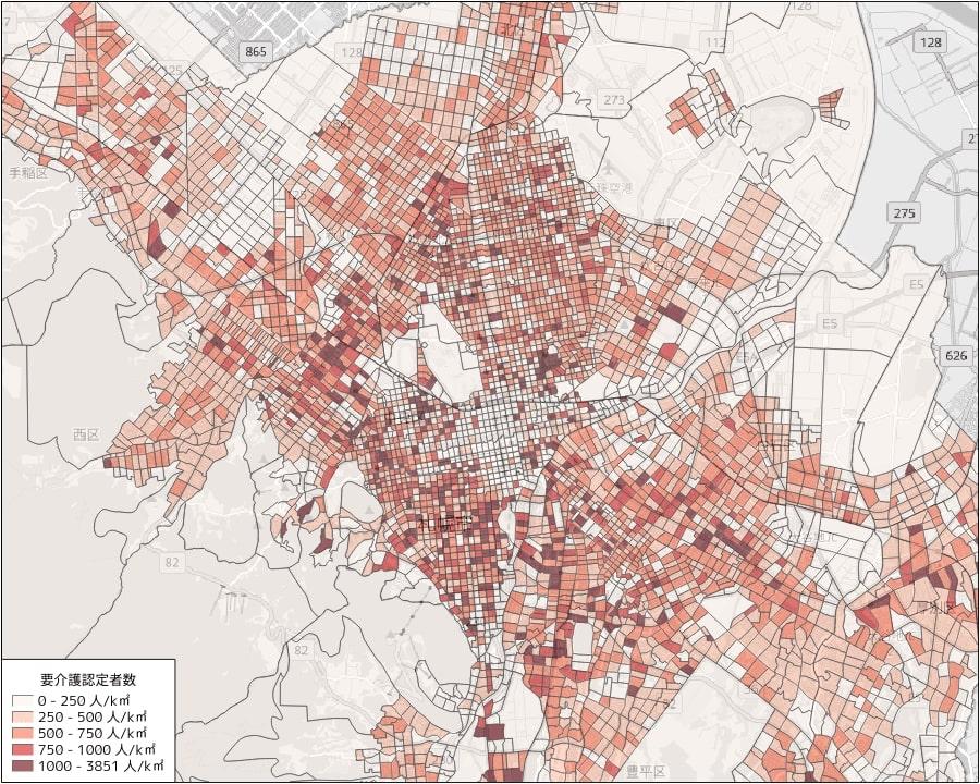 要介護認定者の人口密度