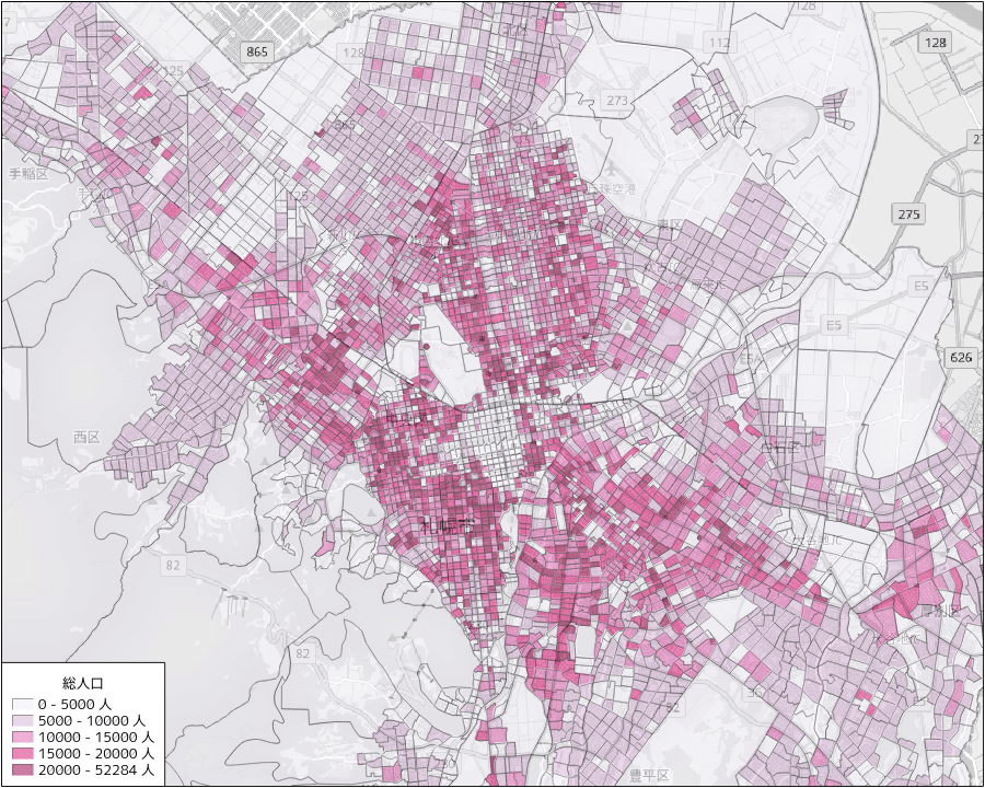 札幌市北西部の総人口密度