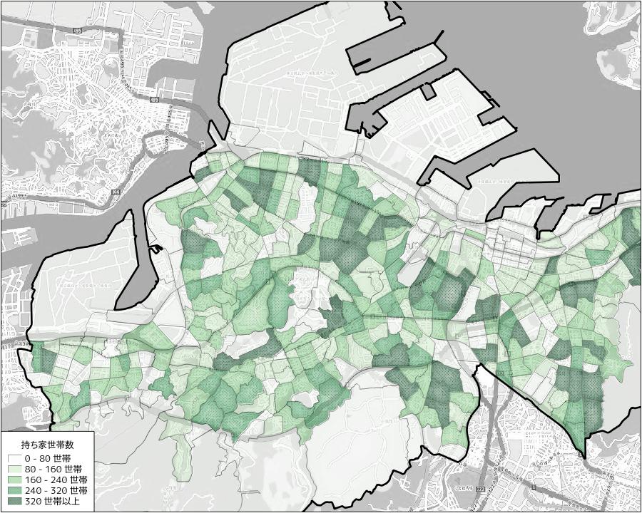 町丁字毎の持ち家位世帯数
