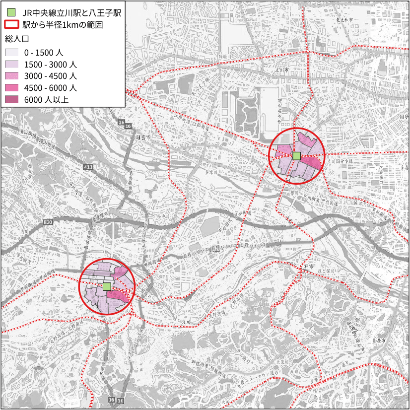JR八王子駅と立川駅周辺の人口