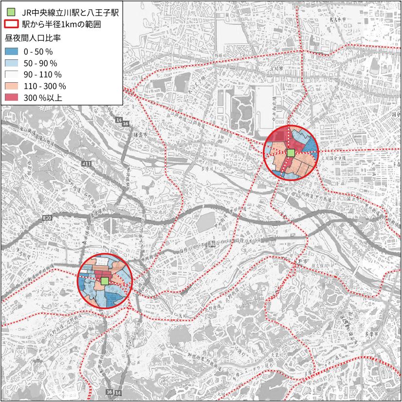 八王子駅と立川駅の昼夜感人口比率