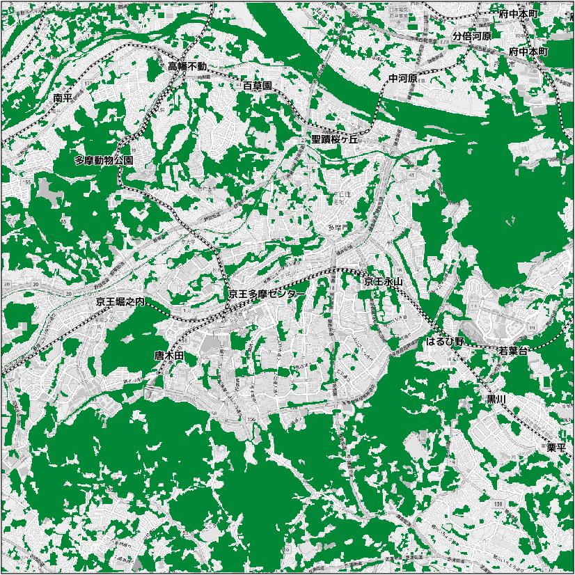 樹林や草地等の緑がある範囲