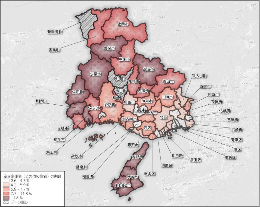 兵庫県の市区町ごとの空き家の割合(その他の住宅) min