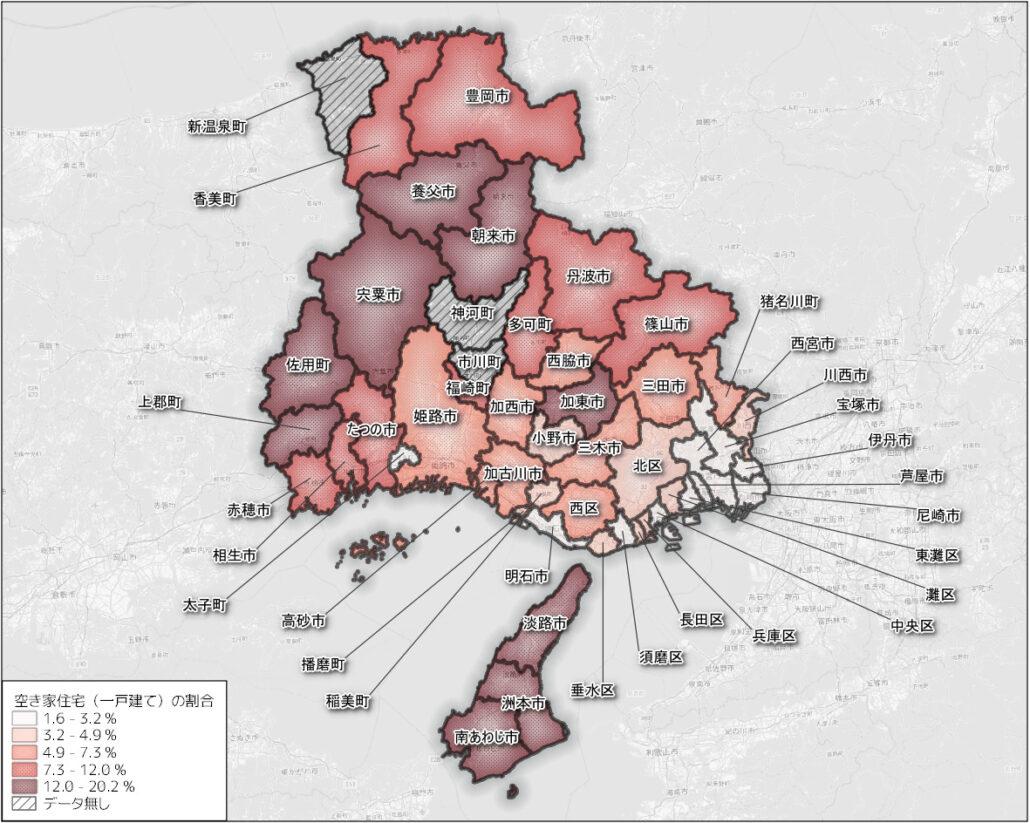 兵庫県の市区町ごとの空き家の割合(一戸建て) min