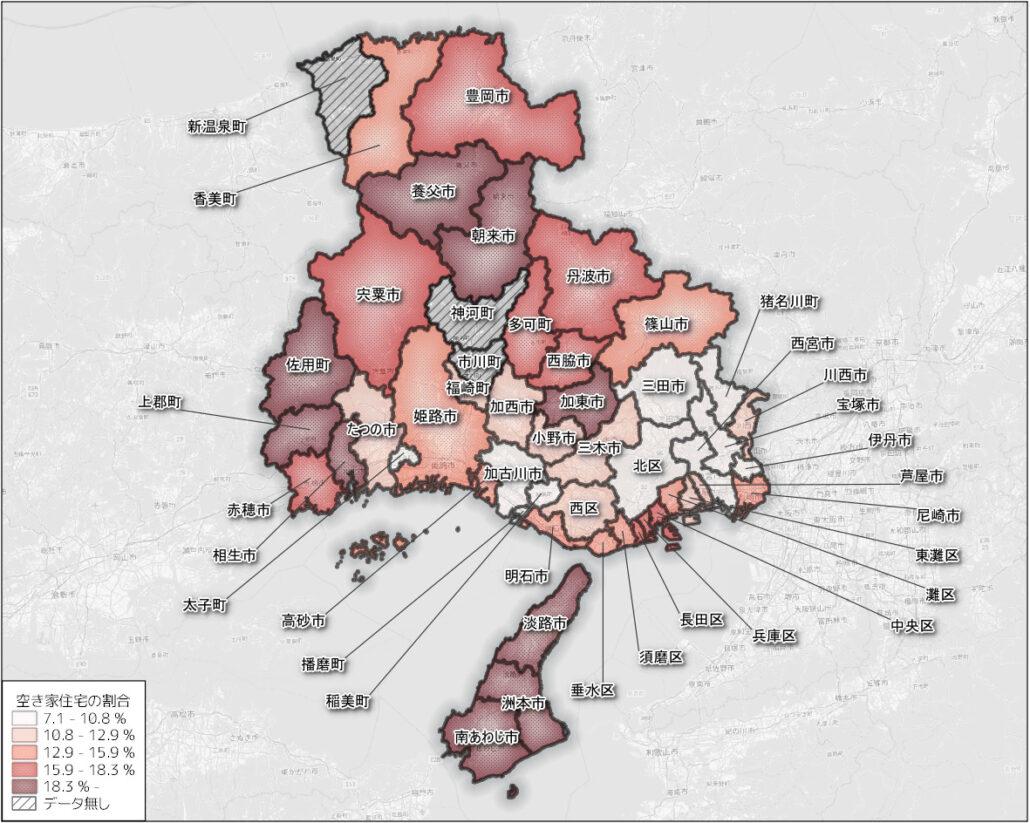 兵庫県の市区町ごとの空き家の割合 min