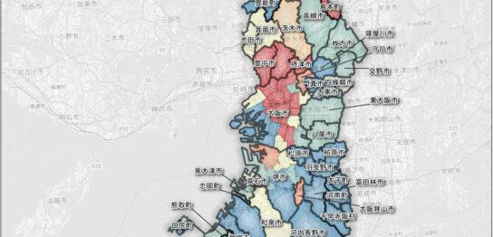 大阪府の市町村ごとの人口増減率
