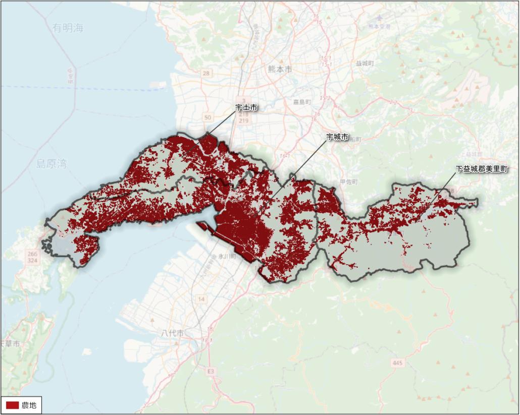 熊本県宇城地域の農地分布